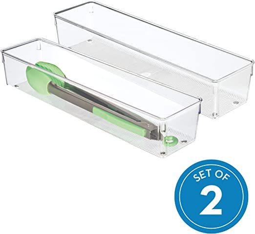 transparente separador de cajones alargado de pl/ástico ideal como organizador de cajones de cocina iDesign Cubertero para dividir cajones