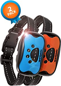 SparklyPets Humane Dog Bark Collar 2 Pack | Anti Barking Training Collar | Vibrating, No Shock Stop Barking for Small Medium Large Dogs | Excessive Barking Pet Corrector