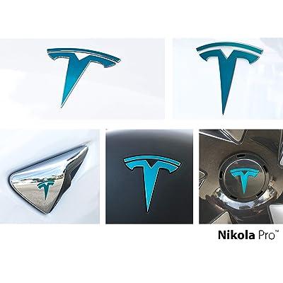 Nikola Pro Tesla Model 3 Logo Decal Wrap Kit (Gloss Teal): Automotive