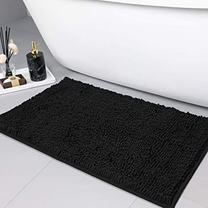 Amazon Com Linla Non Slip Soft Microfibers Chenille Bathroom Rug Mat Machine Washable And Absorbent Fast Dry Kitchen Rugs Thick Modern Plush Carpet For Tub Shower And Door 32x20 Inches Black Garden