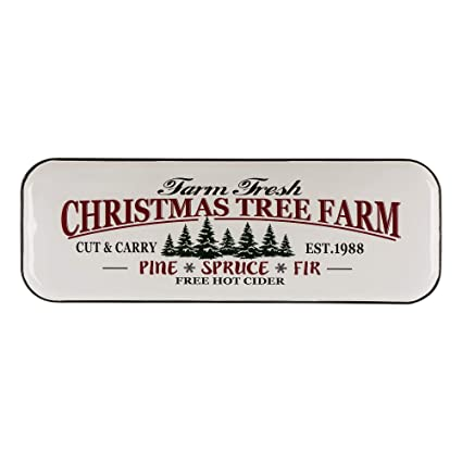"Glitzhome Metal Enamel Wall Signs Farmhouse Style Christmas Tree Home Decor 43.11"" H"
