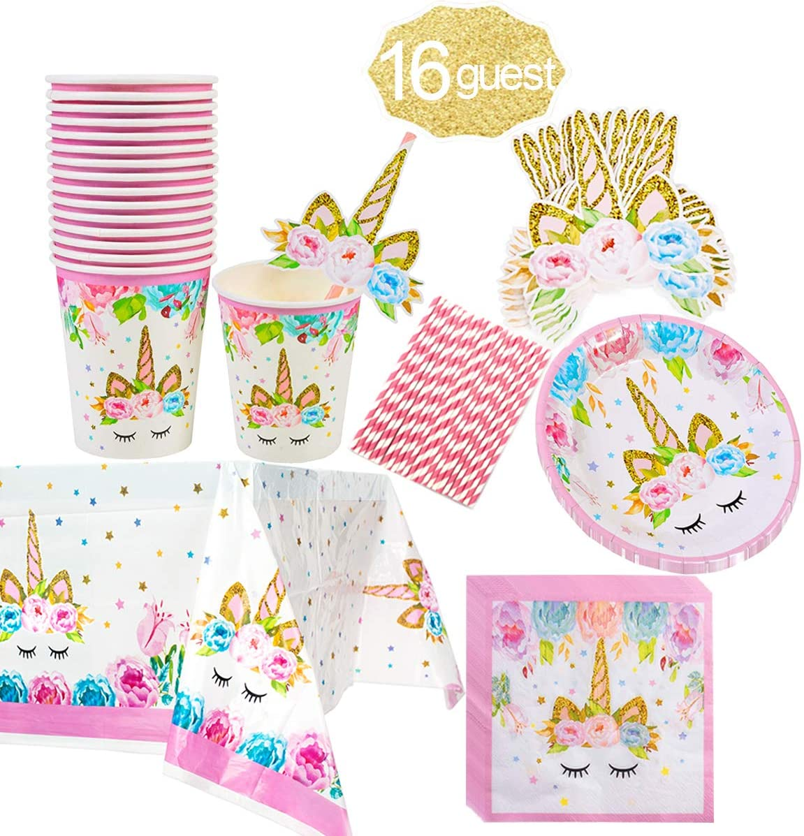 20pcs Unicorn Disposable Paper Drinking Cups Plate Sets Birthday Party Decor
