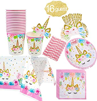 Amazon.com: Unicorn Party Supplies Set para fiesta de ...