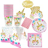 Unicorn Themed Party Supplies Set,Unicorn Cake Plates,Cups,Napkins,Tablecloth,Straws&Decoration,Paper Disposable Tableware Se