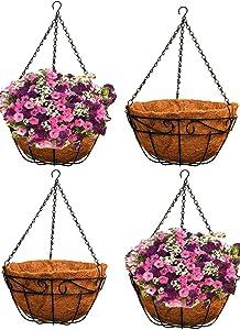 Ashman 14 Inch Metal Hanging Planter Basket with Coco Coir Liner Round Wire Plant Holder Chain Porch Decor Flower Pots Hanger Garden Decoration Indoor Outdoor Watering Hanging Baskets (4)