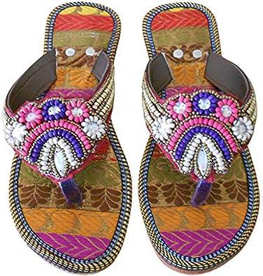 Kalra Creations Womens Traditional Indian Mojari Rexine Ethnic Flats