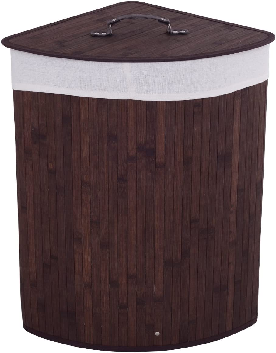 Giantex Corner Laundry Hamper W/Lid, Handle and Removable Cloth Bag for Cloth Storage and Organize Bamboo Laundry Basket Bin (Brown)