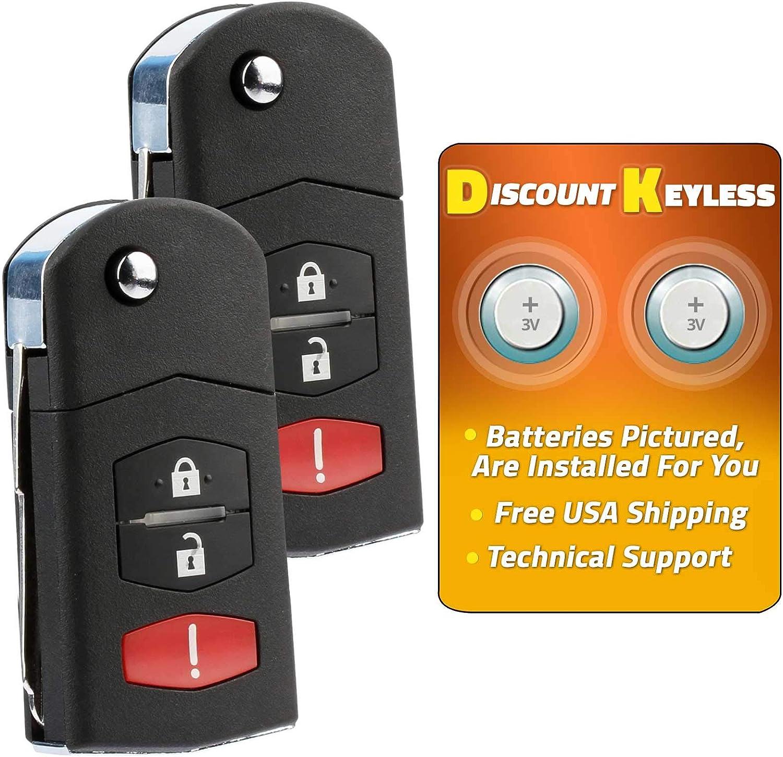 41524-2 PACK For 05-08 Mazda 6 Hatchback 05-07 Mazda 6 Wagon Keyless Entry Remote Flip Key Fob KPU41788