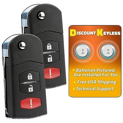 Set of 2 BGBX1T458SKE11A01 Key Fob Keyless Entry Remote Shell Case /& Pad fits Mazda CX-7 CX-9 Smart Card 2007 2008 2009