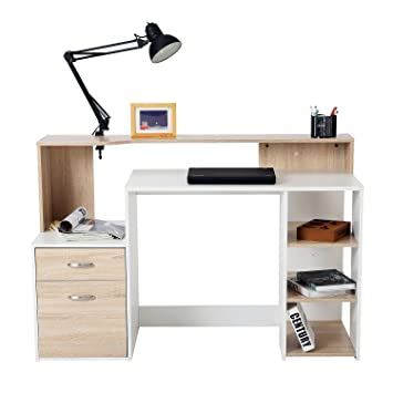 white high desk w star mh homeoffice gloss bookshelf homcom