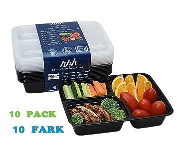hyhjh caja de comida rápida 3 compartimento, Plus tapa sin BPA almuerzo/caja, lavavajillas - se puede usar en microondas, libre cubertería.