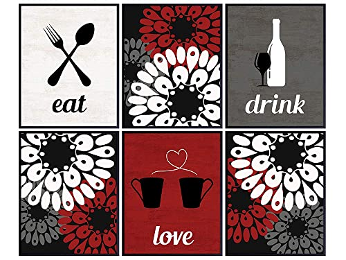 Amazon Com Kitchen Decor Wall Art Set 8x10 Dining Room Decoration Gift For Women Woman Wife Her Chef Floral Boho Bohemian Unframed Poster Prints Red Eat Drink Love Handmade