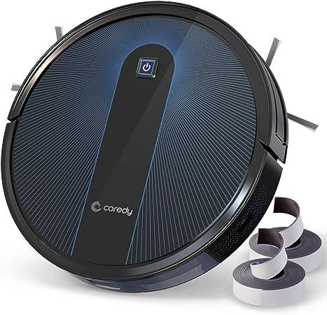 Coredy Robot aspirador R650 con Boost Intellect, filtro lavable, 1600 Pa de succión, incluye tiras delimitadoras, súper silencioso, delgado, aspirador automático para suelos duros y alfombras: Amazon.es: Hogar