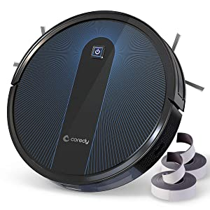 Coredy Robot Vacuum Cleaner, Boost Intellect, 1600Pa Super-Strong Suction, Boundary Strips Included, 360° Smart Sensor Protection, Ultra Slim, R650 Robotic Vacuum, Cleans Hard Floor to Carpets