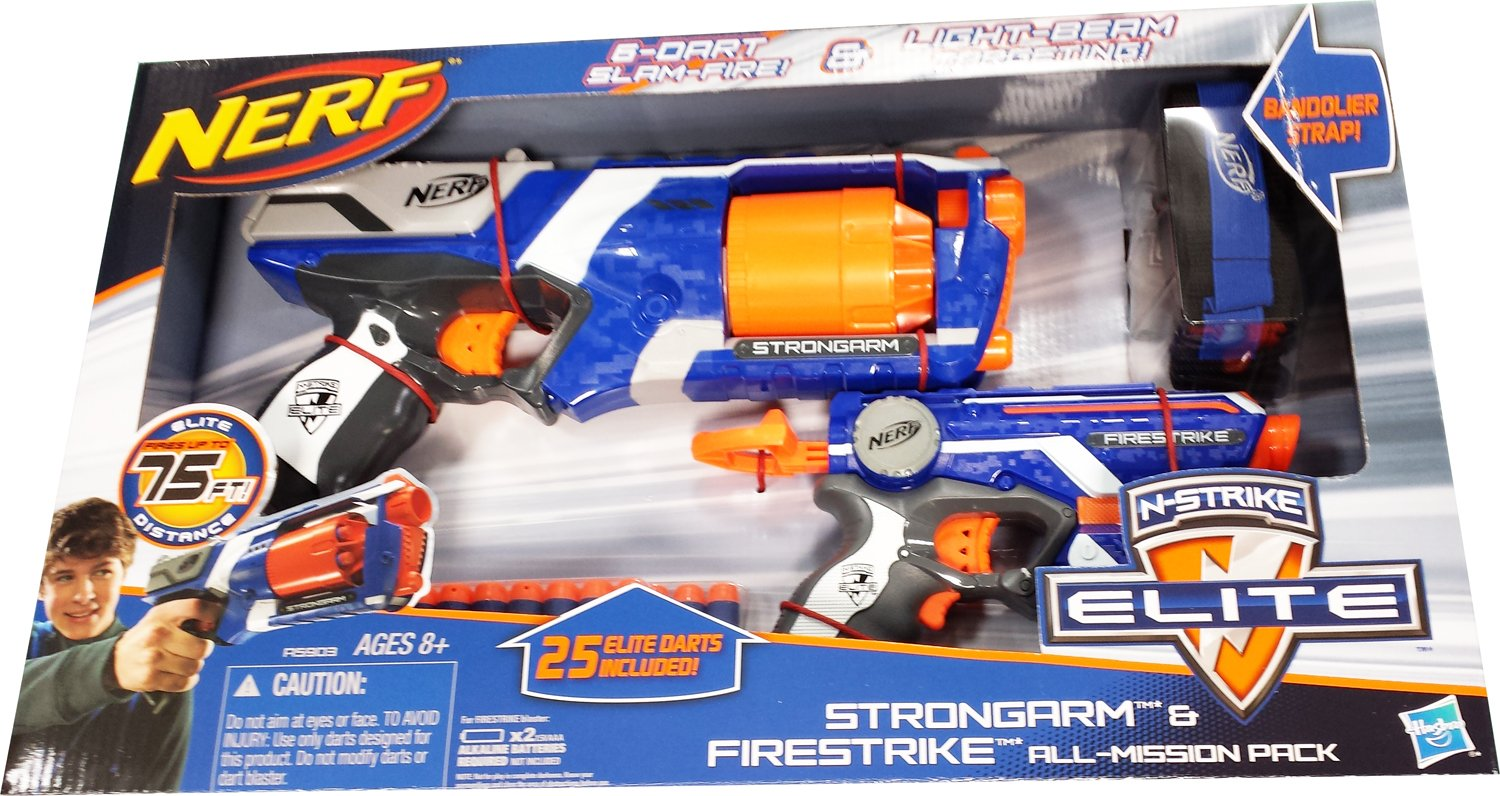 Amazon.com: NERF N-Strike Elite: Strongarm, Firestrike Blasters, Bandolier  and 25 ammo refills ALL-MISSION PACK: Toys & Games