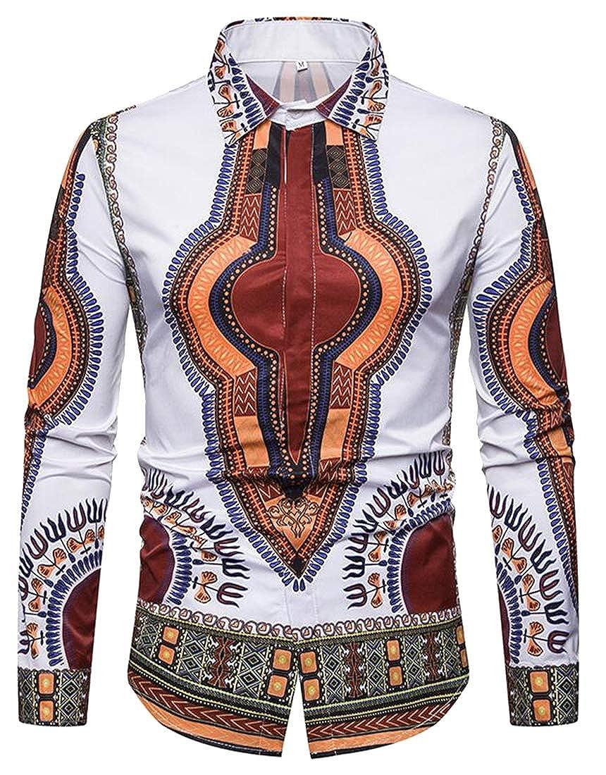Fubotevic Mens Casual African Fribal Print 3D Print Button Up Long Sleeve Shirt