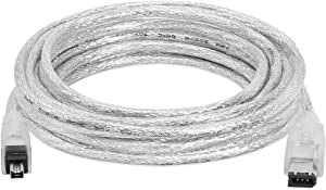 Cmple - 15FT FireWire IEEE 1394 Cable/iLink 6 Pin to 4 Pin Male to Male DV Cable 4-Pin to 6-Pin FireWire Cable Cord - 15 Feet Clear