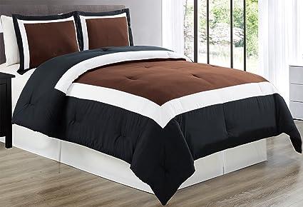 Amazon Com 3 Piece Chocolate Brown Black White Color Block