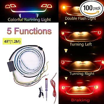 12V Flow Flash Car LED Reversing Brake Turning Signal Light Strip Bar Trunk Lamp