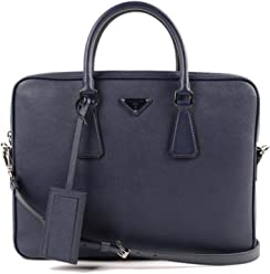 4a0dae6fb3ee6 Prada Men s Leather Briefcase Blue Saffiano