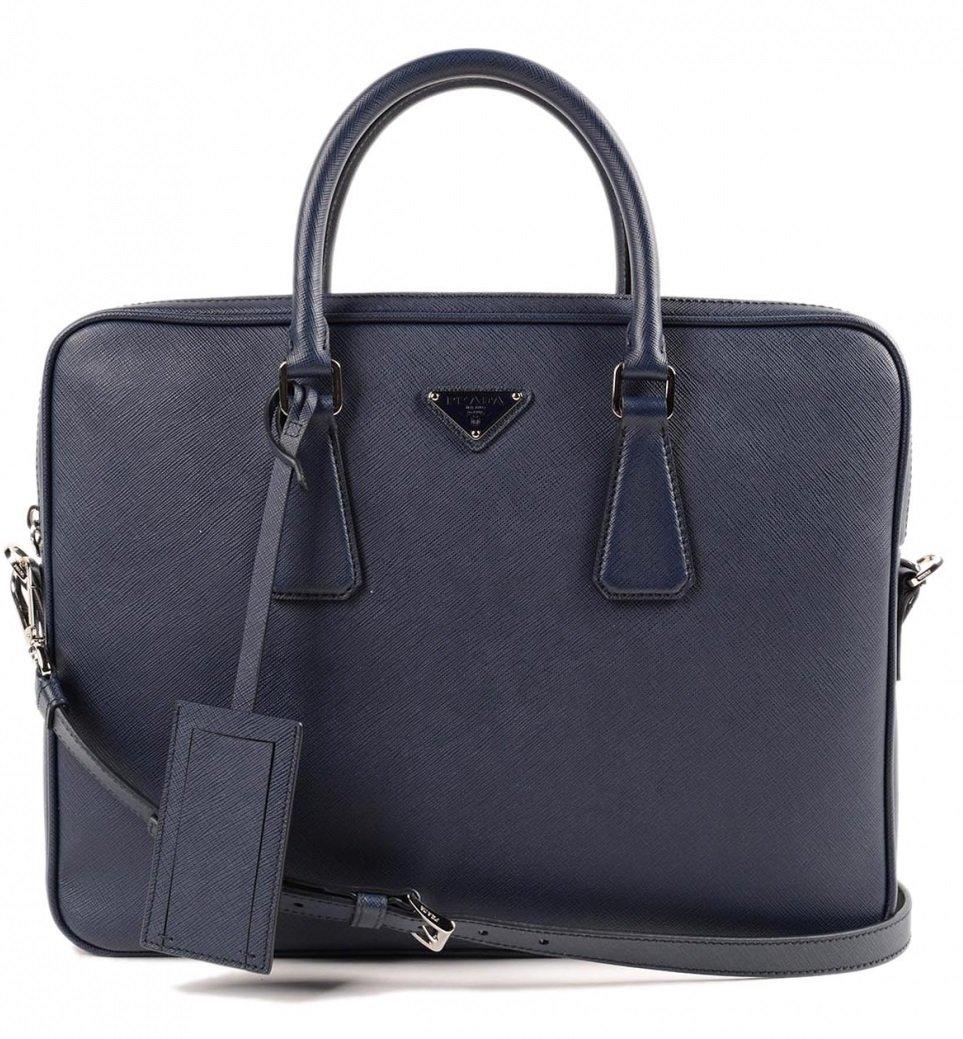 30b0304e7bf8e3 Amazon.com | Prada Men's Leather Briefcase Blue Saffiano | Briefcases