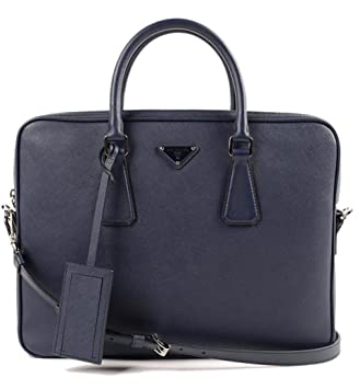 9c2f9d891814 Amazon.com | Prada Men's Leather Briefcase Blue Saffiano | Briefcases