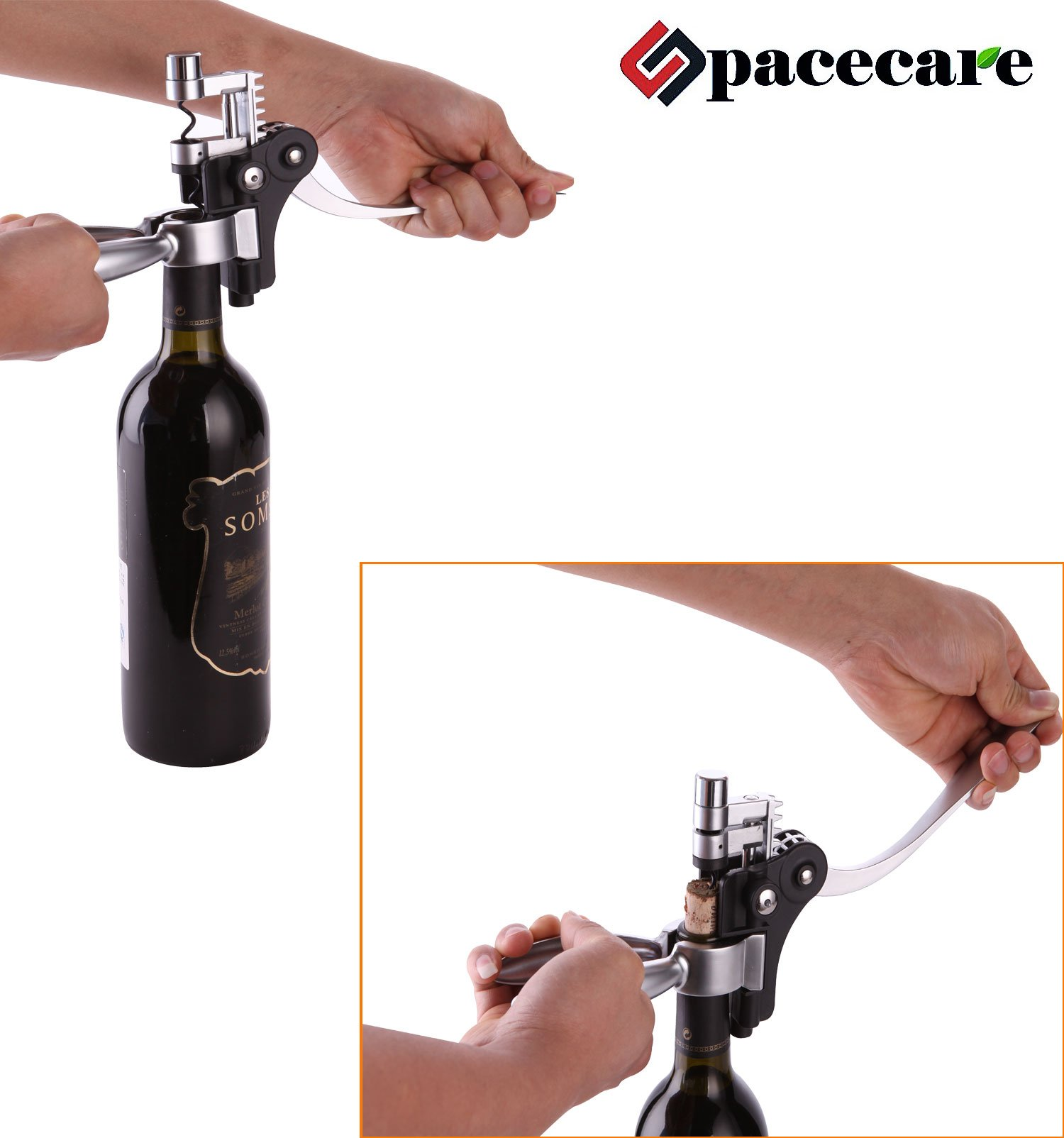 SPACECARE Wine Opener Kit with Chess,Red Wine Beer Bottle Opener Wing Corkscrew,Aerator, Thermometer, Stopper, and Accessories Set with Dark Cherry Wood Case - 10 Piece by SPACECARE (Image #4)