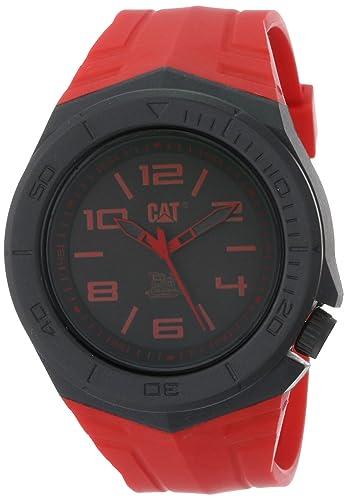 Caterpillar LA11128138 - Reloj para hombres, correa de goma color rojo: Amazon.es: Relojes