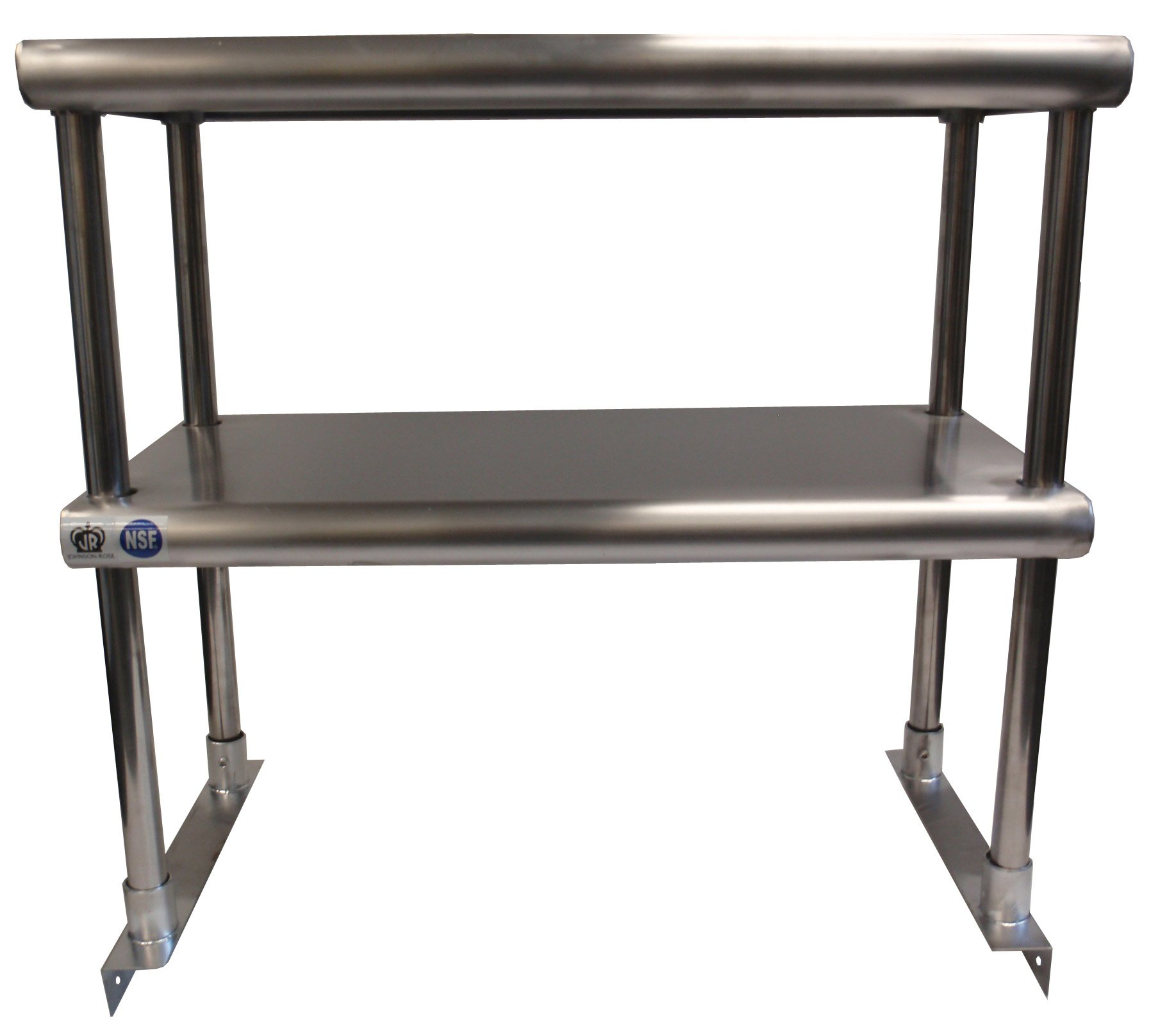 Johnson Rose 81298 Over Shelf for Work Table, Double Tier, 12'' x 96'', #430 Stainless Steel, 18 Gauge Top Stainless Steel Legs and Socket Easily Attaches to Work Tables