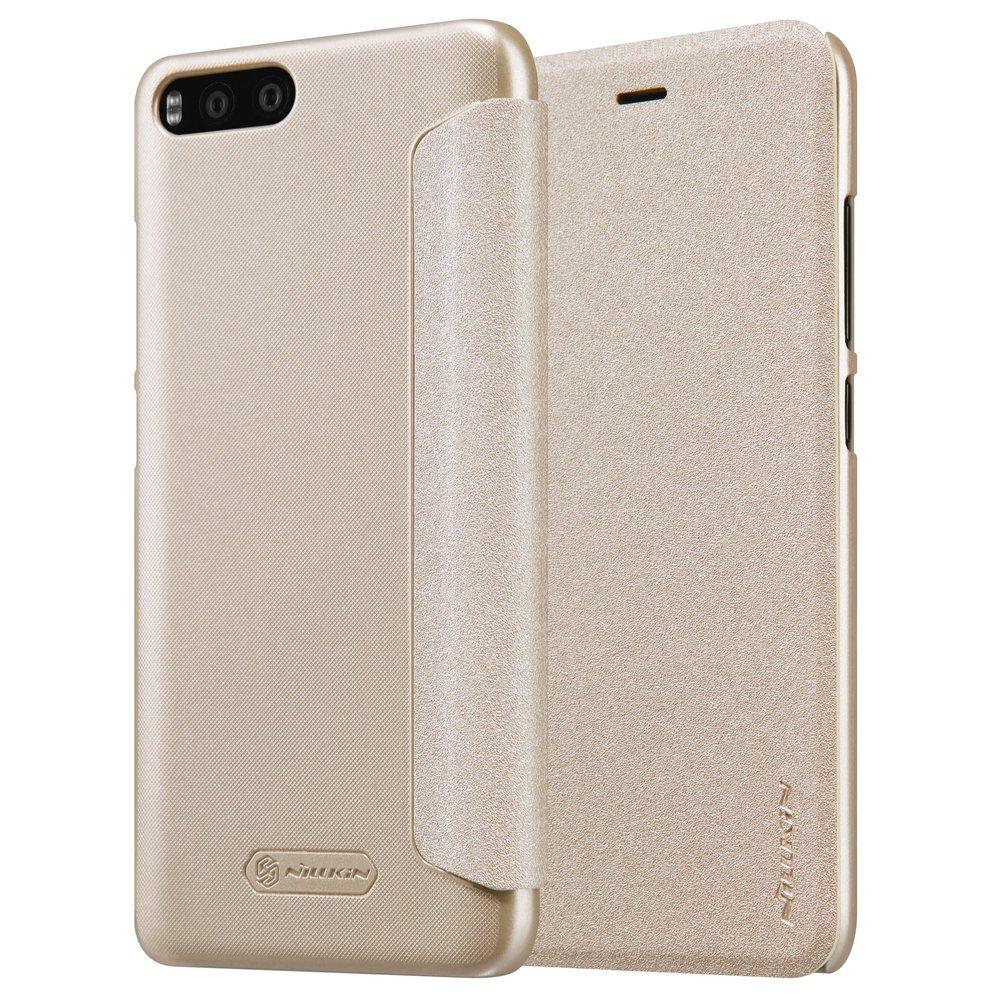Kepuch Sparkle Xiaomi Mi6 Funda Estuche PU Cuero Brillante Escudos Carcasa Funda Smart Case Cover Cuero Ultra-Delgado para Xiaomi Mi6 - Oro
