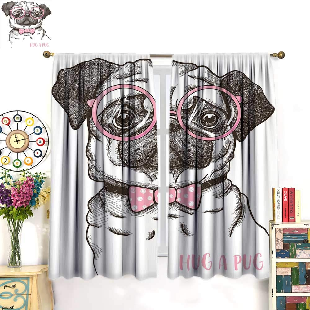 color03 W55\ color03 W55\ WinfreyDecor Pug Drapes for Living Room Cute Pet Dog with Pink Bow Tie Oversized Glasses Hand Drawn DomesticatedBlackout curtainBrown Pale Pink White. W55 x L39