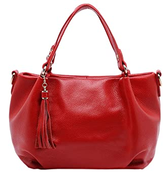 SAIERLONG New Womens Red Fashion Soft Leather Handbags Shoulder Bags   Amazon.co.uk  Luggage ae7d596d85