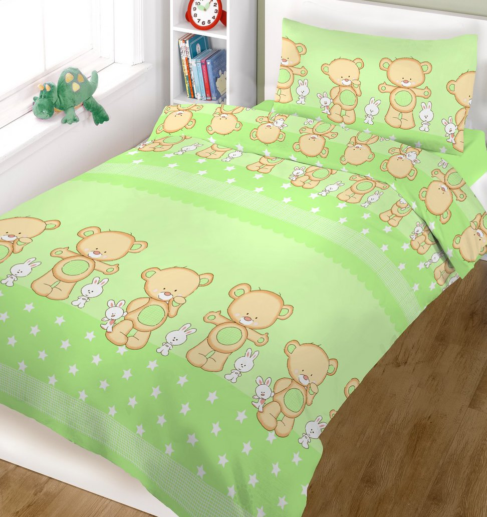 BlueberryShop 2 Piece Baby Cot Duvet and Pillow Covers Bedding Set, 120 cm Length x 90 cm Width, Green Bear on Ladder Blueberry Shop for Babies 50012005
