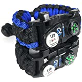 Adjustable Paracord Bracelet 550 Grade with Survival SOS LED Light, Firestarter, Compass, Rescue Whistle and mini Multitool Included