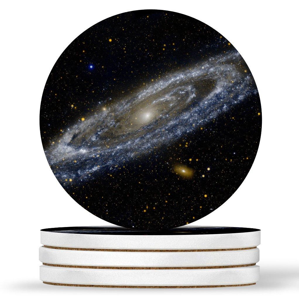 Andromeda Galaxy Spaceデザイン – ラウンドコースター、天然砂岩 – 4のセット   B07BMHF464