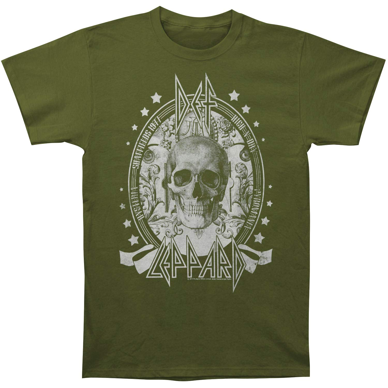 Amazon.com  Def Leppard Men s Skull Slim Fit T-Shirt Army Green  Clothing 8beee79459c