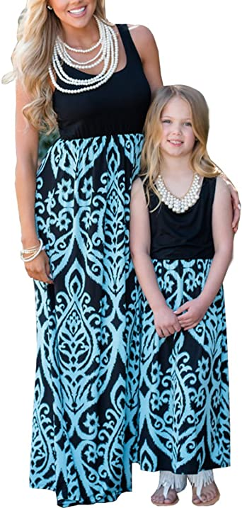 Mother and Daughter Casual Boho Striped Maxi Dress Mommy/&Me Matching Set Outfits