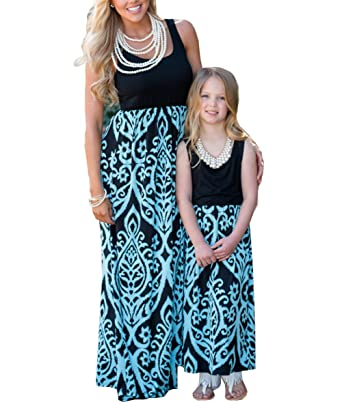 f075801fa17a9 Orianna Mommy and Me Maxi Dresses,Paisley Floral Printed Family Matching  Outfits Set