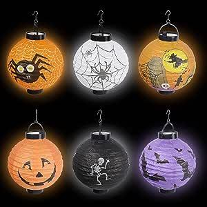 6 PCS Halloween Decorations Paper Lanterns with LED Light - Spider Bat Skeleton Lantern Pumpkin Jack-o'-Lantern for Halloween Party Supplies Halloween Party Favors (Batteries not included)