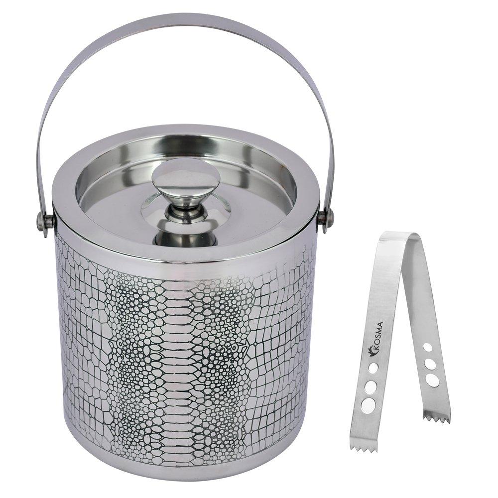 Kosma Designer Double Wall Stainless Steel Ice Bucket with Ice Tongs, Size - 15 x 18cm | Ice Cube Bucket