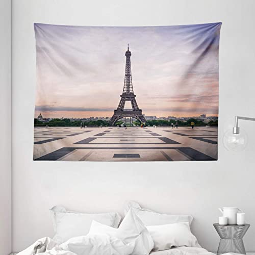 Ambesonne Paris Tapestry, Trocadero and Eiffel Tower at Sunshine Paris Skyline Historic Landscape View, Wide Wall Hanging for Bedroom Living Room Dorm, 80 X 60 , Lavender Dimgray