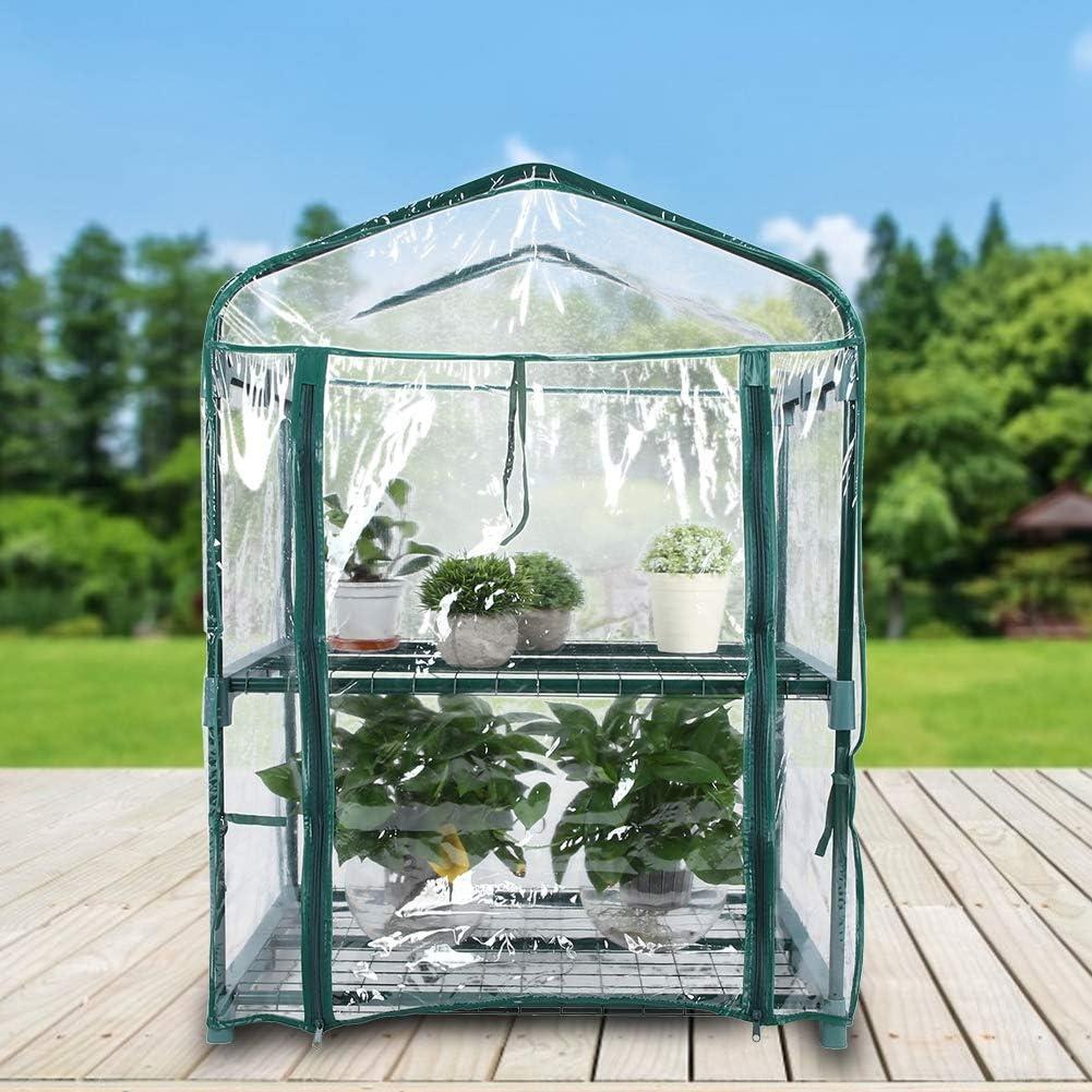 GOTOTOP Mini Serre de Jardin /à 2 /étages en PVC avec Porte Enroulable /à Fermeture /Éclair 69 x 49 x 93 cm
