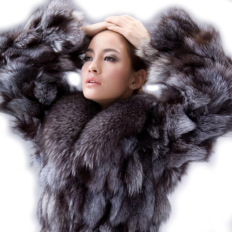 URSFUR Women's Silver Fox Fur Coats Silver Fox Fur Jackets Natural ...