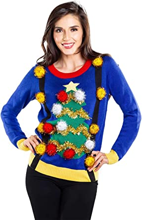 Tipsy Elves Women's Tacky Christmas Sweater Christmas Tree Sweater with Suspenders