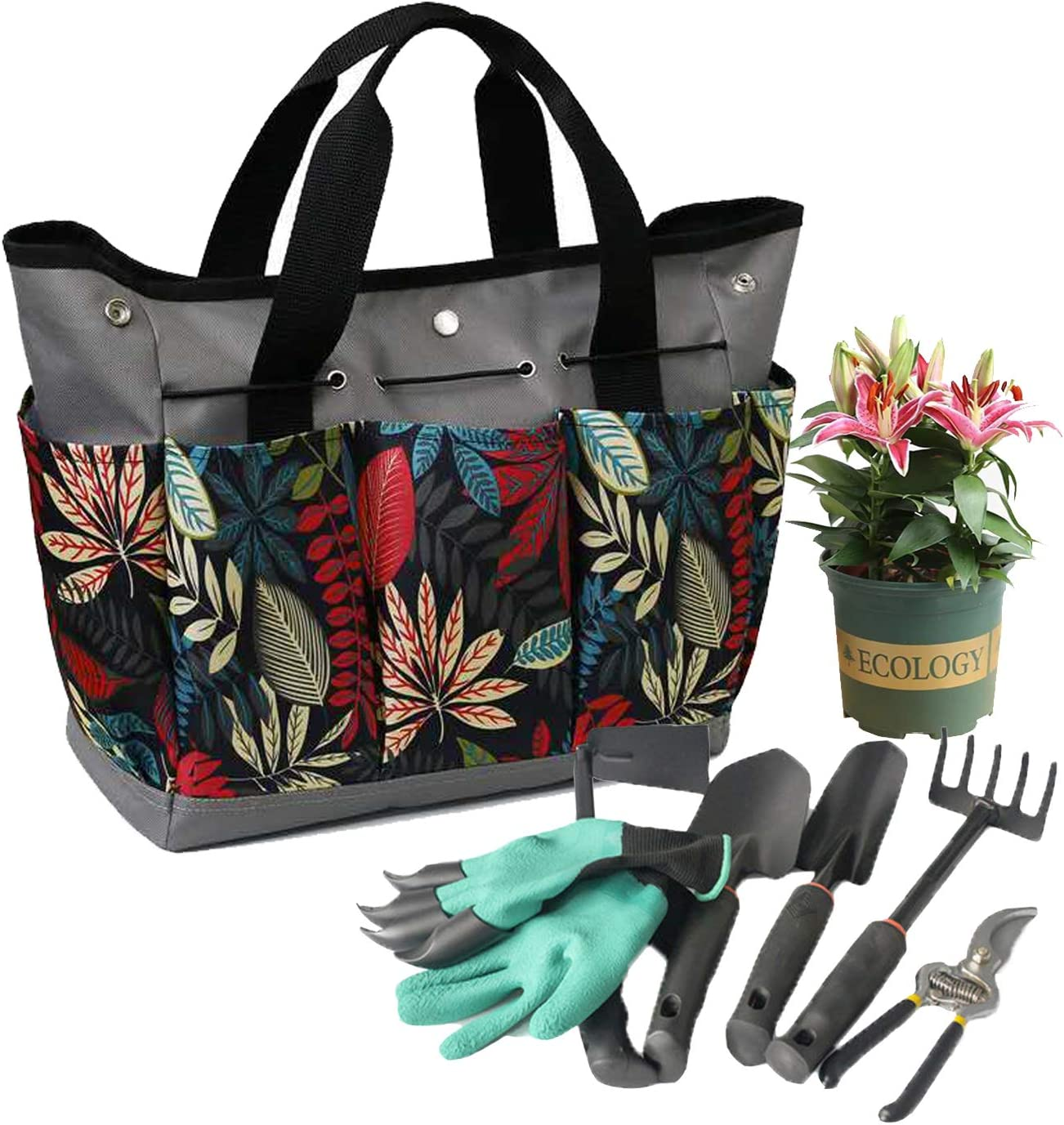 Garden Tote Portable Gardening Organizer with 8 Pockets Garden Tools Tote Bag with Elastic Bands to Hold the Tools Stand Up Bottom Great Gift Tool Bag for Women/Men's Garden Works(Tools Not Included)