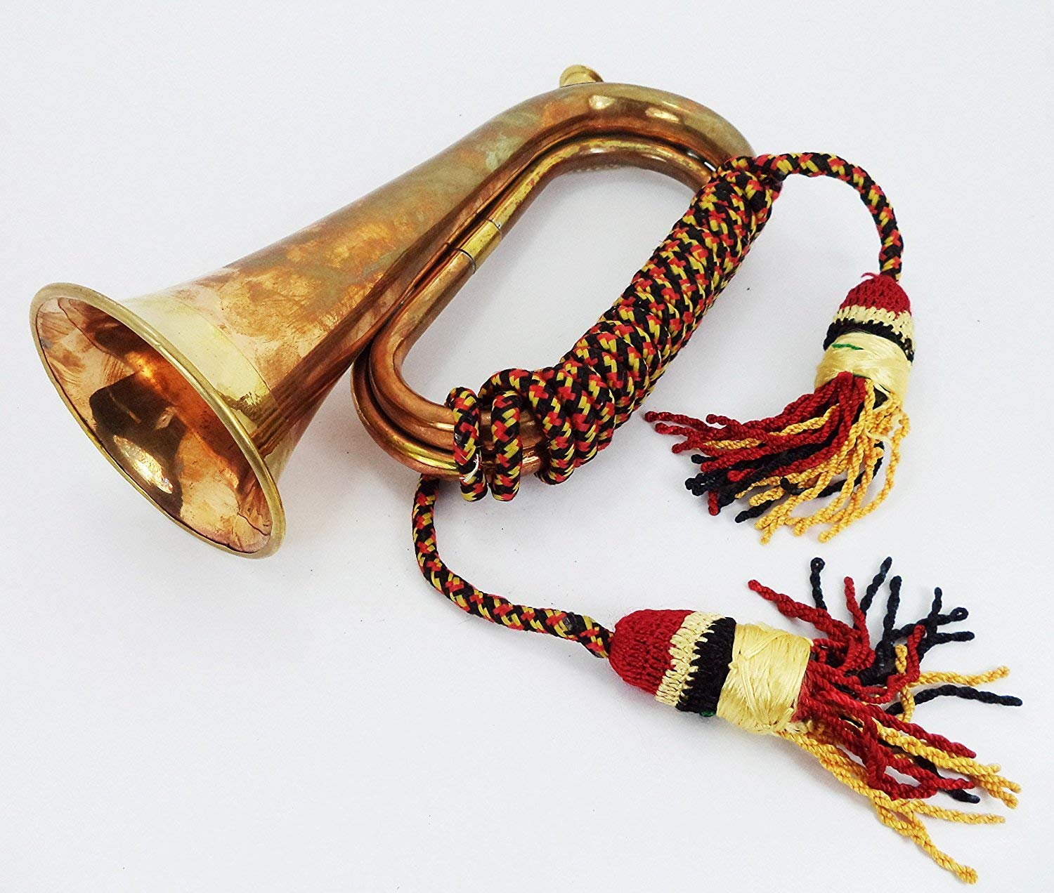 Boy Scout Brass and Copper Blowing Bugle Attack War Command Signal Horn 10.6'' Inch with Beautiful Colourful Rope Binding by NauticalMart