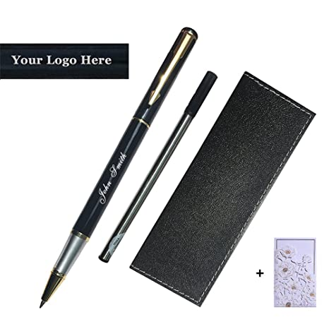 Personalized Engraved Roller Ball Point Pens Medium 0 5mm Black Ink Refills  Metal Pen Customizable School Business Office Gift (Customizable Black)