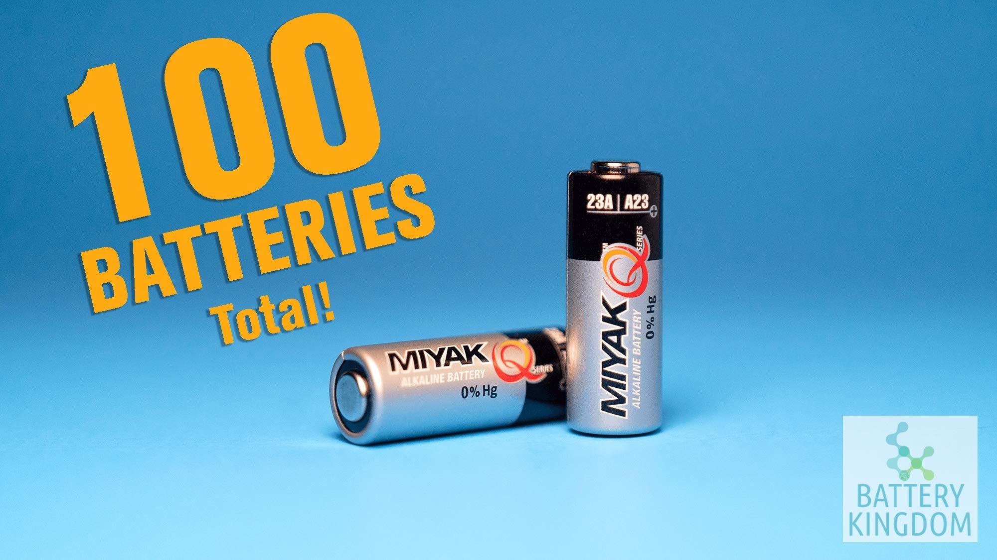 Original Miyak A23 / 23A / 8LR932 Alkaline Battery - Mercury Free - 5 Pack (1 Box - 100 Batteries)