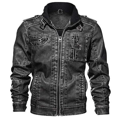 FuweiEncore Chaqueta de Cuero de Moda para Hombre Abrigo Informal Abrigo Chaquetas de Moto (Color