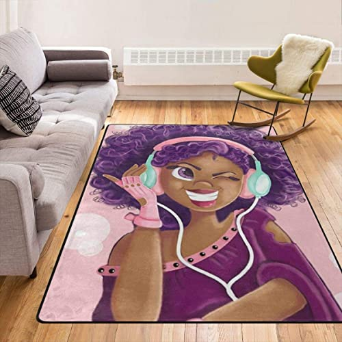 Black Girl Magic Hip Hop Eye Shadow Listen Music Throw Rugs Carpet Modern Area Rug Floor Pad Rugs Bathroom Rug Mat Yoga Mat Home Decor